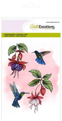 CraftEmotions Clearstamp A6 - Fuchsia Hummingbird