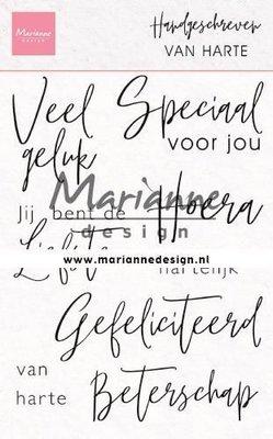 Marianne Design Stempel - Handgeschreven: van Harte CS1049