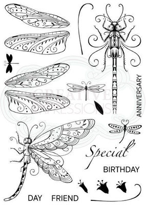 Creative Expressions Pink Ink Clear Stamp A5 - Dragonfly