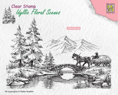 Nellie's Choice Clearstamp Idyllic - Horse and Cart IFS022