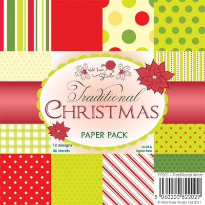 Wild Rose Studio Paper Pack 6 x 6 - Traditional Christmas PP021 SALE