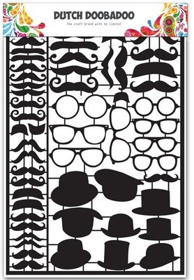 Dutch Doobadoo Paper Art - Black Mustaches 472.950.002