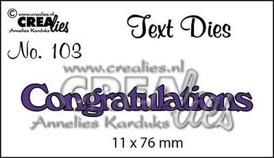 Crealies Text Die UK 103 - Congratulations SALE