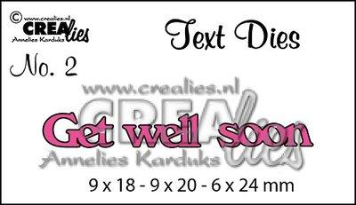 Crealies Text Die UK   2 - Get Well Soon SALE