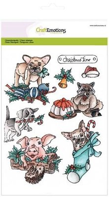 CraftEmotions Clearstamp - Christmas Pets 1 SALE