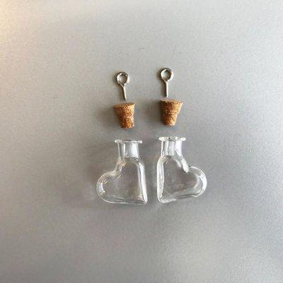 Mini Flesjes Hart met Kurk & Schroef 4 x 9 x 25 mm - 12423-2316