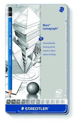 Staedtler Mars Lumograph Pencil - Metal Tin 12 pcs 100 G12