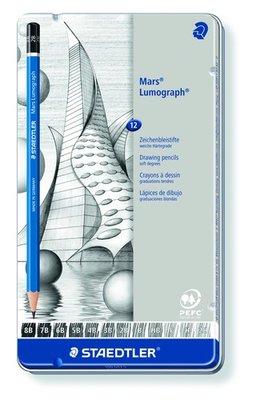 Staedtler Mars Lumograph Pencil - Metal Tin 12 pcs Soft 100 G12 S