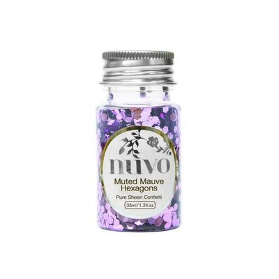 Nuvo Pure Sheen Confetti - Muted Mauve Hexagons 1061N