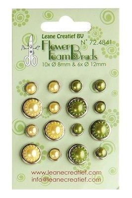 Leane Creatief Flower Foam Brads - Yellow & Green 72.4841 SALE