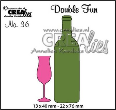 Crealies Double Fun 36 - Champagneglas & Wijnfles