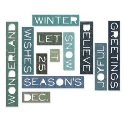Sizzix Thinlits Die - Holiday Words: Thin 661600 SALE