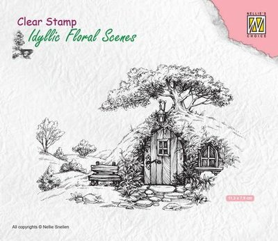 Nellie's Choice Clearstamp Idyllic - Scene with Old House IFS012