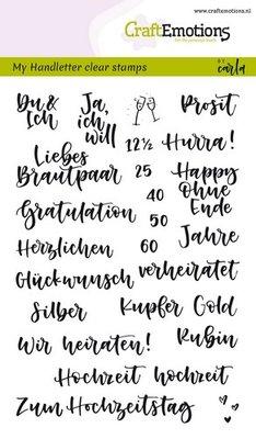 CraftEmotions Clearstamp - Hochzeit Handlettering