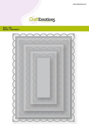 CraftEmotions Nesting Die - Rectangles with Open Scallop XL