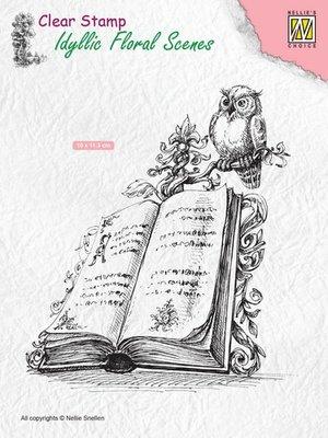Nellie's Choice Clearstamp Idyllic - Boek met Uil IFS013