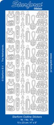 Starform Sticker Sheet - Baby Decorations 2 - Silver 0116.002