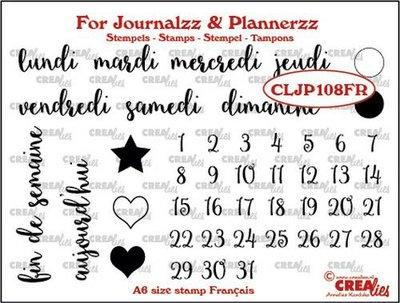 Crealies Journalzz & Plannerzz - Stamps: Weekdays FR
