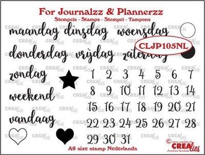 Crealies Journalzz & Plannerzz - Stamps: Weekdays NL
