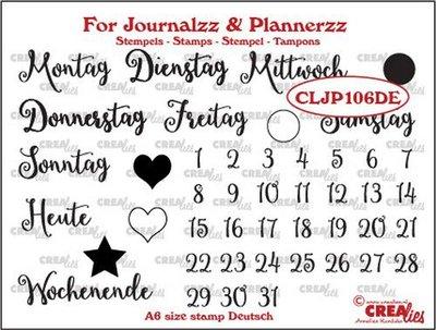 Crealies Journalzz & Plannerzz - Stamps: Weekdays DE