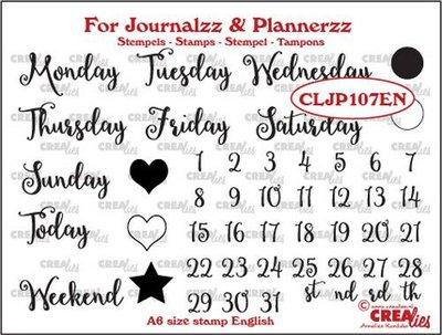 Crealies Journalzz & Plannerzz - Stamps: Weekdays EN