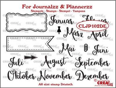 Crealies Journalzz & Plannerzz - Stamps: Months DE