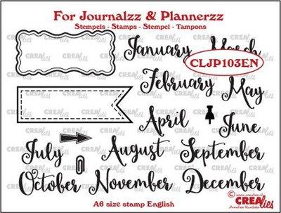 Crealies Journalzz & Plannerzz - Stamps: Months EN