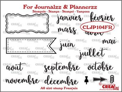 Crealies Journalzz & Plannerzz - Stamps: Months FR