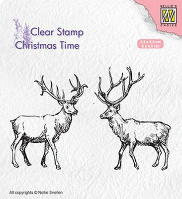 Nellie's Choice Clearstamp Christmas Time - Two Reindeer CT028