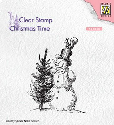 Nellie's Choice Clearstamp Christmas Time - Snowman with Tree CT029