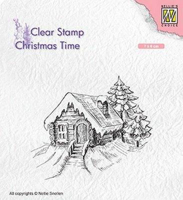 Nellie's Choice Clearstamp Christmas Time - Cosily Snowy Cottage CT030