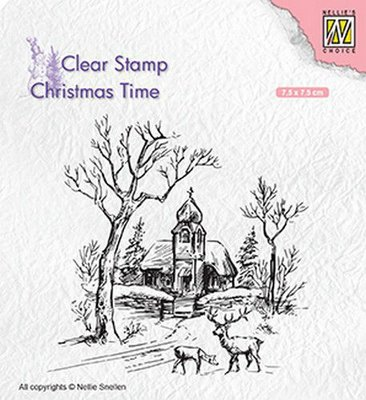 Nellie's Choice Clearstamp Christmas Time - Church and Deer CT027