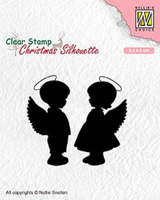 Nellie's Choice Clearstamp Silhouette - Angelboy and -girl CSIL008