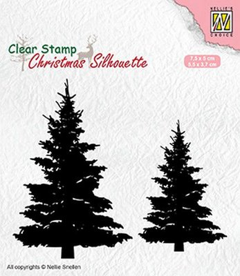 Nellie's Choice Clearstamp Silhouette - Fir Trees CSIL009