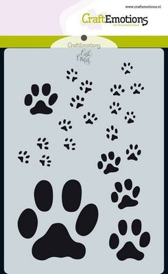 CraftEmotions Mask A6 - Odey & Friends - Paw Prints 185070/0113
