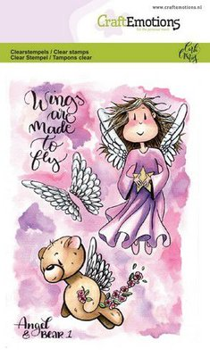 CraftEmotions Clearstamp A6 - Angel & Bear 1