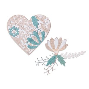 Sizzix Thinlits Die - Bold Floral Heart 664492