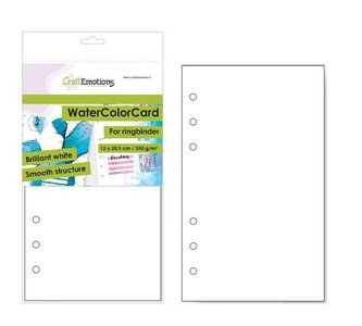 CraftEmotions Watercolour Card 120 x 205 mm - Brilliant White 350 gsm for Ringbound